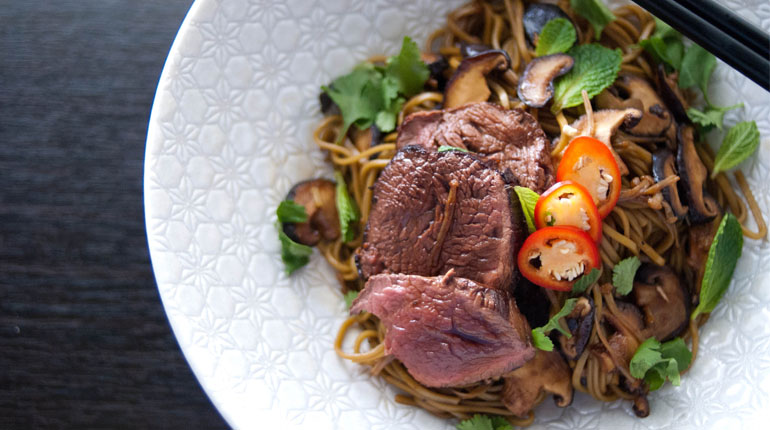 Rare Beef with Green Tea Soba - Feature Image