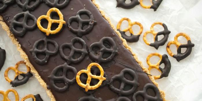 Dark Chocolate and Salted Pretzel Tart - Feature Image