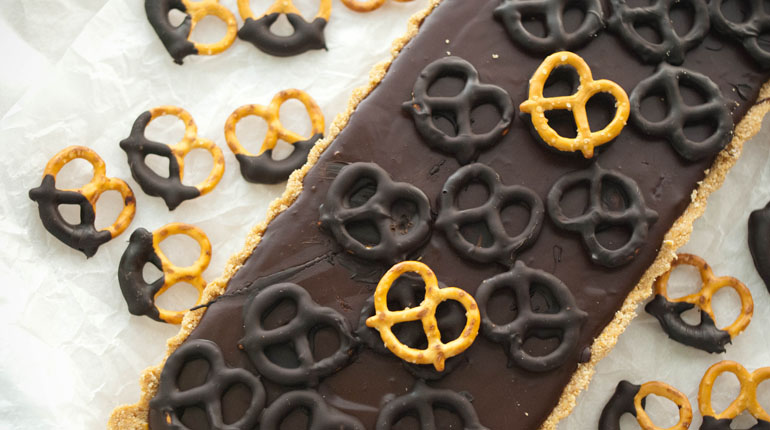Dark Chocolate and Salted Pretzel Tart - Feature Image