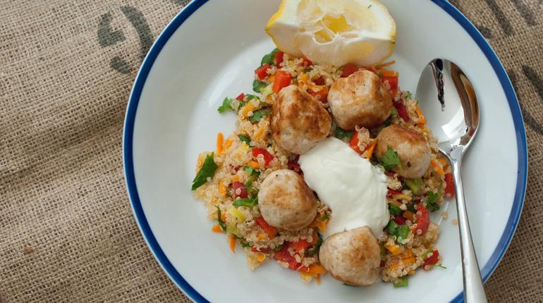 Chicken Meatballs and Vegetable Quinoa
