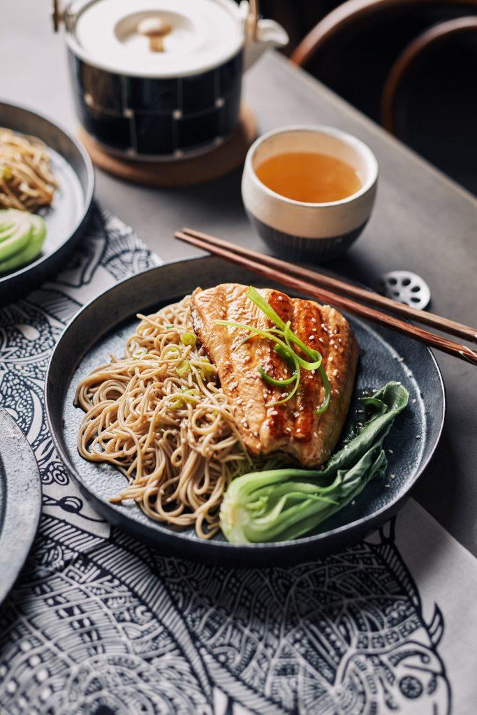 Teriyaki Salmon Soba Noodles