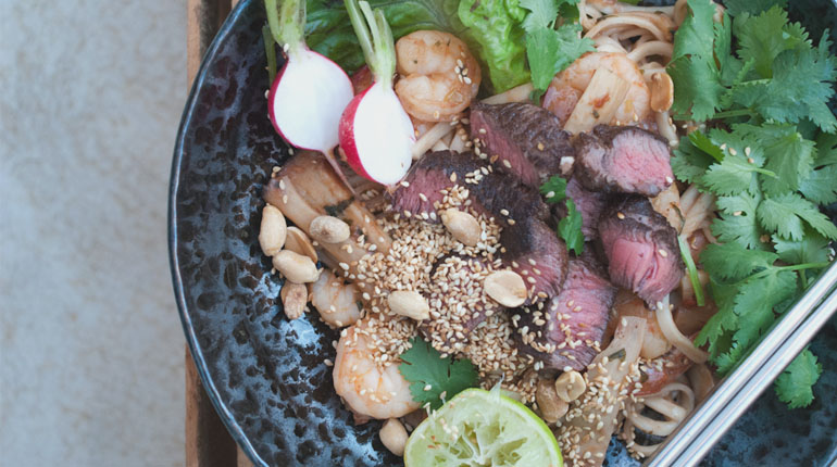Seared Asian Beef Noodle Salad