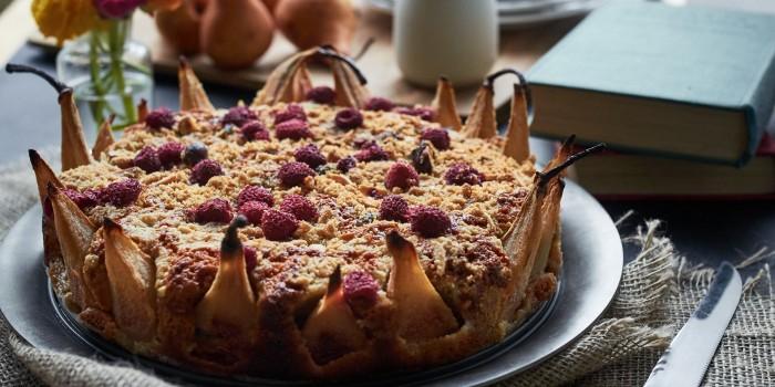 Pear Raspberry Amaretto Cake