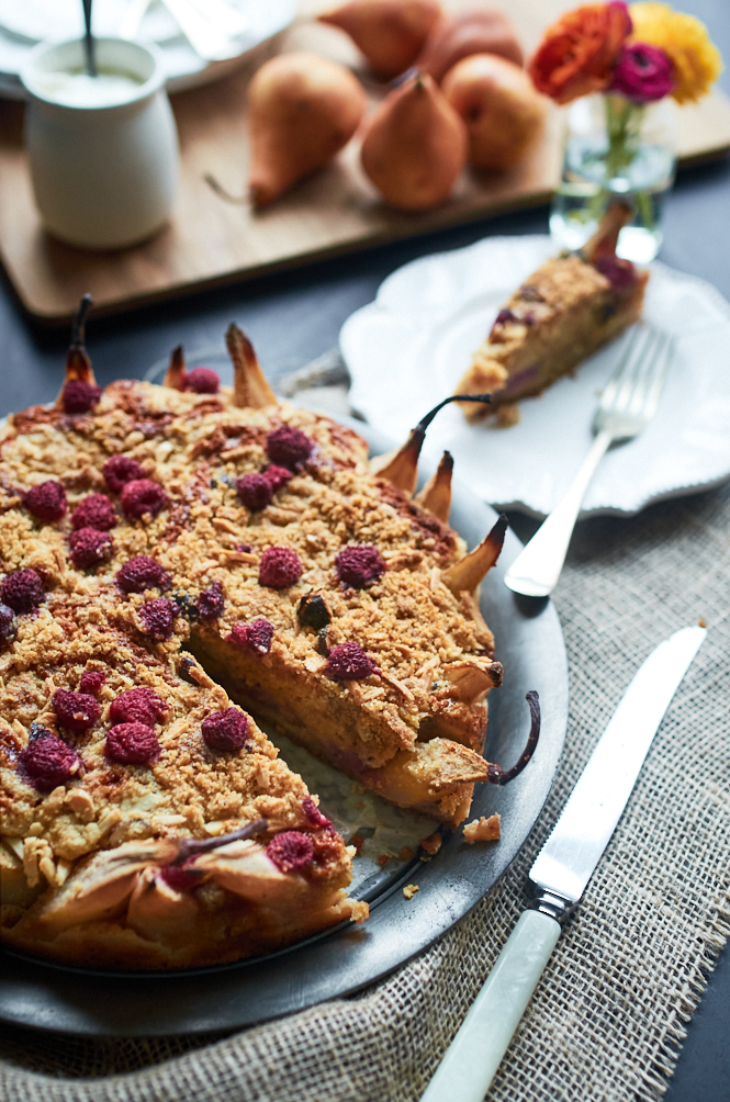Pear Raspberry Amaretto Cake