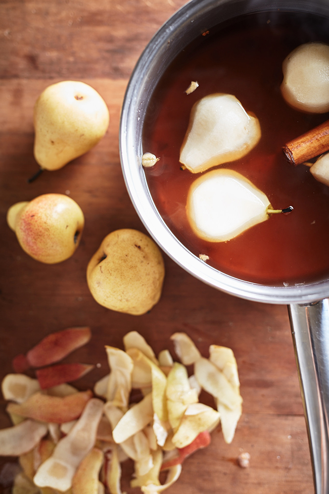 Chai pears poached
