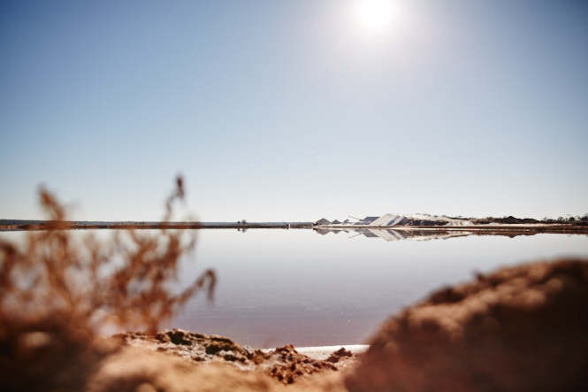 One of the salt lakes where they mine for Murray River Salt